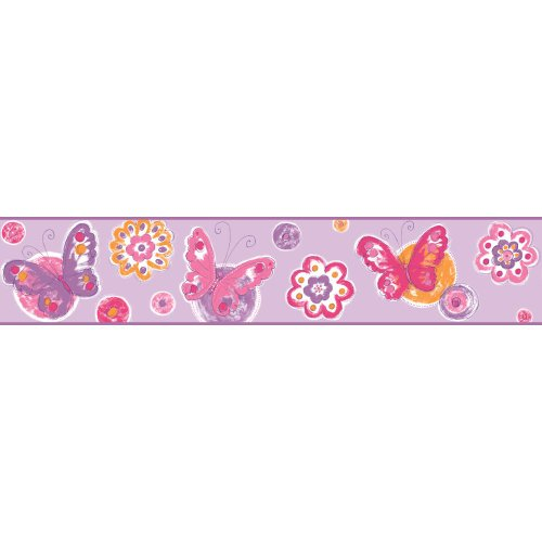 York Wallcoverings KS2252BD Cool Kids Butterfly Circle Border, Lavender/Grape Juice/Strawberry/Watermelon/Orange Pop/Snow/Blackberry - Lavender Border