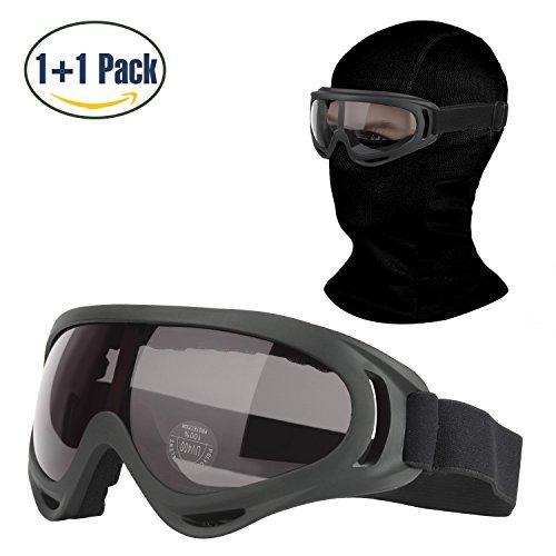 - COOLOO Balaclava & Ski Goggles Sets, Ultralight Balaclava Face Mask Windproof Ski Hood + UV400 Protection Anti-fog Ski Goggles Cycling, Biking, Ski Snowboard fit Kids Men & Women Black