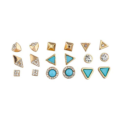 Lux Accessories goldtone and Turq Stone Geo Pave Multi Earring Set 9PCS - Gold Tone Duck