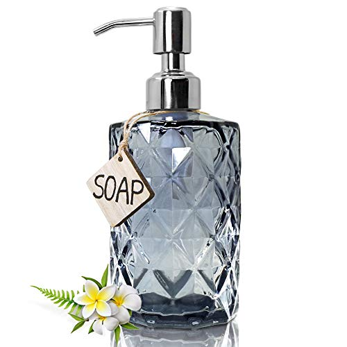 JASAI Diamond Design Glass Soap Dispenser with 304 Rust Proof Stainless Steel Soap Pump, Clear Glass 12 Oz Kitchen Soap Dispenser for Bathroom Accessories, Countertop (Clear Grey)