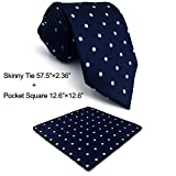 SHLAX&WING Classic Ties For Men Blue Dots Neckties Business Suits Extra Long Skinny