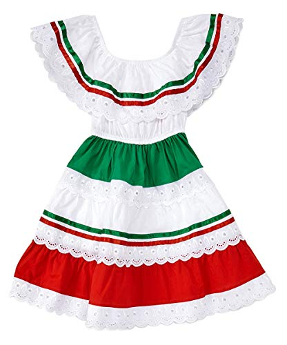 unik Girl's Traditional Mexican Cinco De Mayo Fiesta Dress Red Size 8