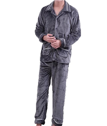 A Poliestere Due Invernale Di Pezzi Pigiama Fiammifero Vestito Lunga Caldo In Grey Manica Pigiami agx1qwqZ