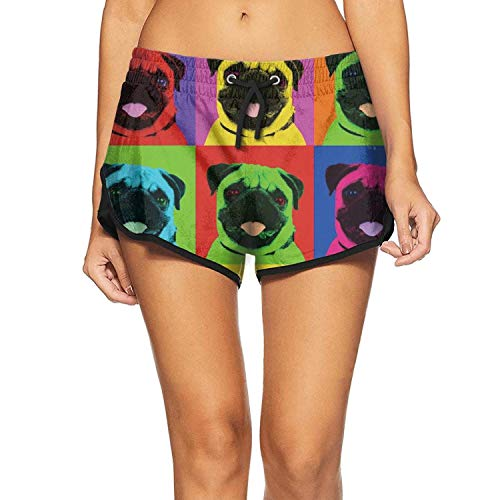 Women Summer Quick Dry Swim Trunks Cute Pug Pop Art Workout Gym Shorts with -
