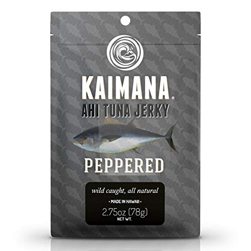 Kaimana Ahi Tuna Jerky Peppered 2.75 Ounce - Soft and Tasty - Premium Fish Jerky Made in the USA. High in Omega 3s, All Natural and Wild Caught