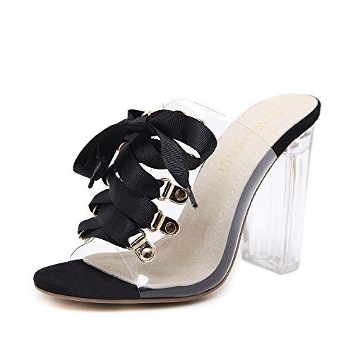 Femmes Romain Lace Up Sandales Peep Toe Transparent Crystal Block Heel Chaussures De Mariage Occasionnels Black CiI9ji86xR