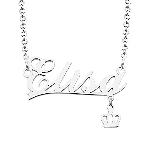 ShinyJewelry 925 Sterling Silver Personal Name Necklace Customized Initial Crown Charm Pendant for Mom