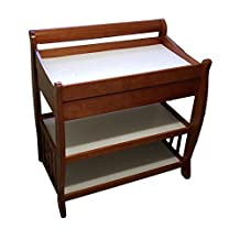 Tuscany Solid Wood Cognac Finish 2 Shelf Sleigh Changing Table w/Drawer