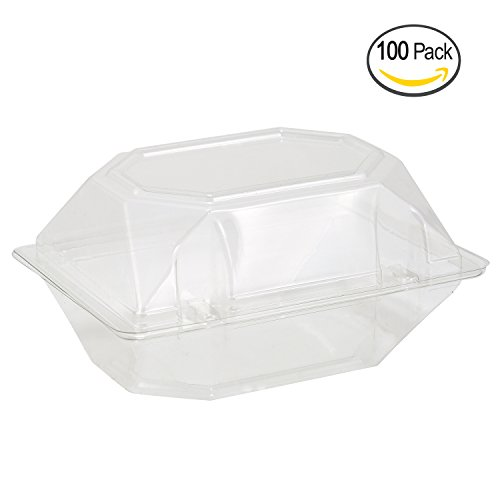 100 Pack Clear Plastic Flower Box for Corsage, Boutonniere, Rose, Orchid Prom Wedding Craft Container 6x5x4 (Box Orchid)
