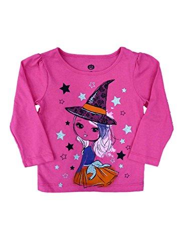 Happy Halloween Infant & Toddler Girls Pink Witch T-shirt Glittery Tee Shirt (Walmart Halloween Shirts)