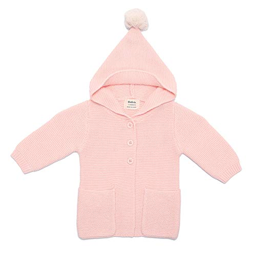 (O2Baby Baby Boy Girl 100% Organic Cotton Knitted Cardigan Sweater with Hood Warm Jacket Coat(3-6 Months, Pink))