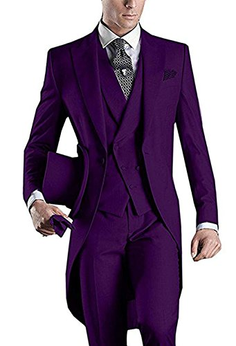 Italian Men's 3 Piece Tailcoat Bridegroom Suits Slim Fit Groom Tuxedos Prom Blazer Custom Jacket Suits