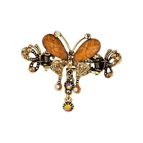 Rhinestone Butterfly Hair Claw with Dangles Hair Clip Ponytail Holder Barrette Metal Clam Gripper Fashion Grip Accessory Tassels Antique Retro Style Hairclip Gripper (Coffee)