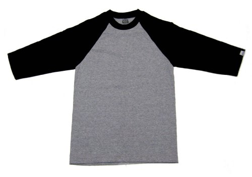 Pro Club Mens 3/4 Sleeve Raglan Baseball T-Shirt, Grey/Black, XXX-Large