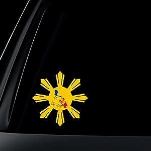 Amazoncom Philippine Flag Sun Star Island Car Decal  Stickers - Car sticker decals philippines