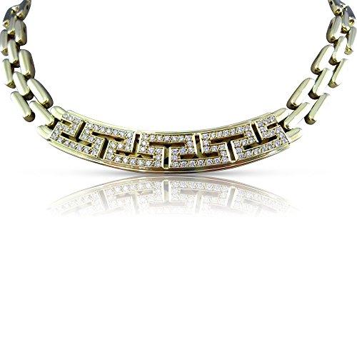 Milano Jewelers WIDE 2.50CT DIAMOND 18KT YELLOW GOLD GREEK KEY CHOKER NECKLACE E/F #25481