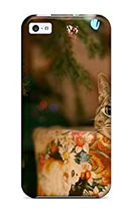 Perfect Fit YfbABzA1221GzbdZ Cat Under Christmas Tree Case For Iphone - 5c