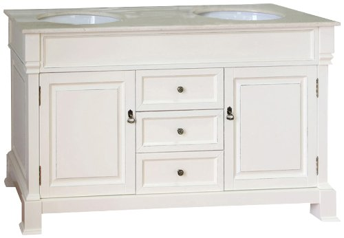Bellaterra Home 205060-D-CR 60-Inch Double Sink Vanity, Wood, Cream White
