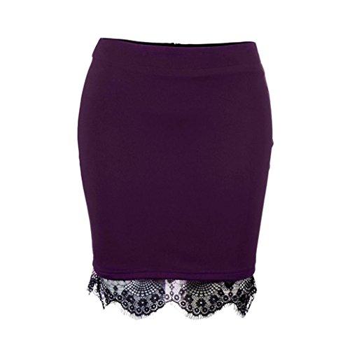 Women Mini Skirt,Lelili Sexy Solid High Waist Hem Lace Patchwork Mini Above Knee Short Skirt Pencil Skirt (L, Purple)
