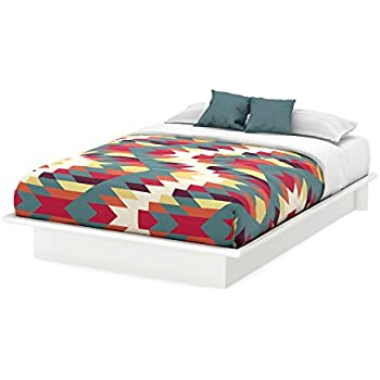 south shore furniture basic collection queen platform bed with moulding 60 pure white