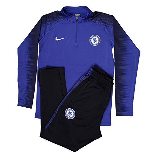 2018/2019 England Sports Fan Soccer Chelsea Football Club Adult Royal Blue Half Zip Jacket Men's Tracksuit (Small) ()