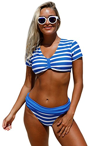 New blu e bianco a righe manica corta 2PCS Tankini set bikini Swimwear estivo costume da bagno misure UK 8EU 36