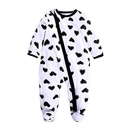 Graphic Onesie - Kids Tales Baby Girls Long Sleeve Footies Zipper Romper Flower Pajama Onesies