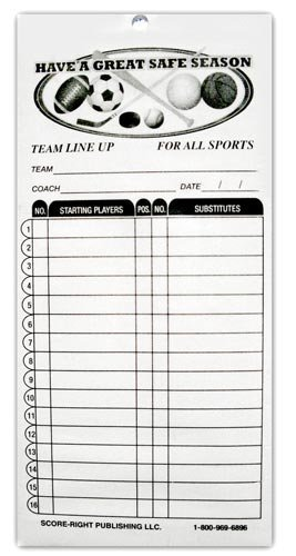 Score-Right Generic Line-Up Cards (25 Sets), One Size, White