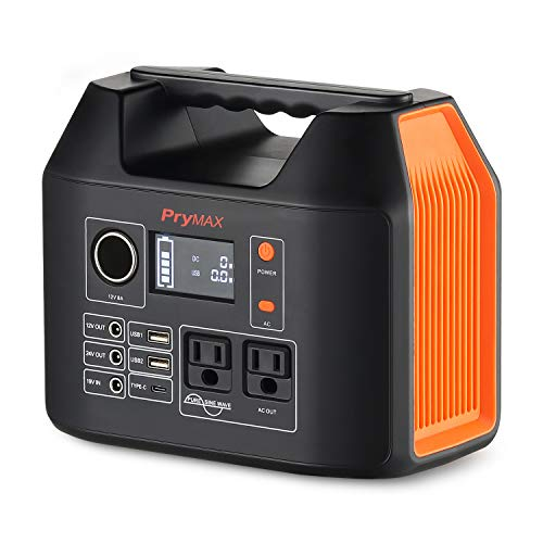 Portable Power Station, Solar Generator PRYMAX 2019 Updated 298Wh Lithium Battery Backup Power Supply with LCD Screen Display,110V/300W Pure Sine Wave AC Inverter Outlet for Outdoors Camping Emergency
