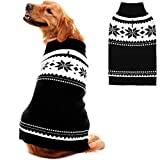 Mihachi Dog Sweater - Winter Coat Apparel Clothes with Claasic Pattern for Cold Winter,Black,L