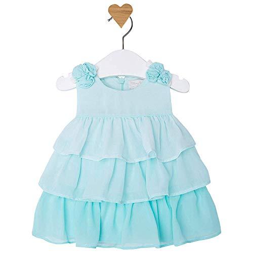 Mayoral Newborn Baby Girls 0M-12M Aqua-Blue Ombre Tier Chiffon Social Party Dress, Aqua,1-2 Months