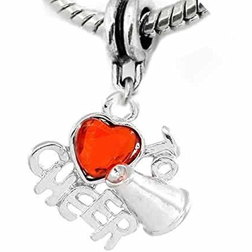 Cheerleader Bead (Love to Cheer w/ Red Heart Bead for Snake Chain Charm)
