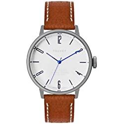 Tsovet Men's 38MM Watch with Leather Band, Brown, One Size