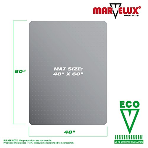 Marvelux 48'' x 60'' ECO (Enhanced Polymer) Rectangular Chair Mat for Low and Standard Pile Carpets | Transparent Carpet Protector | Multiple Sizes by Marvelux (Image #1)