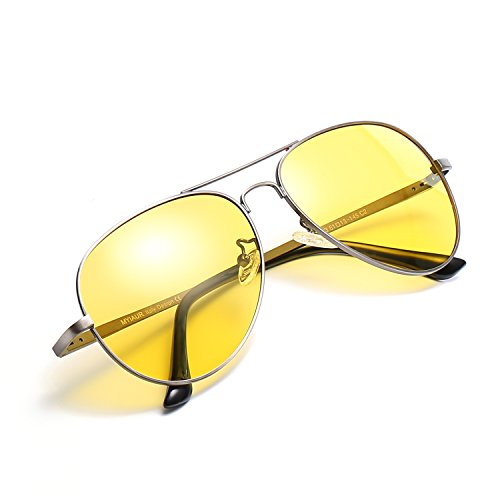 Mens Womens Night Vision Polarized HD Glasses for Driving/Shooting Yellow Lens Anti-glare Sunglasses Alleviate Eye Fatigue (gun/yellow)