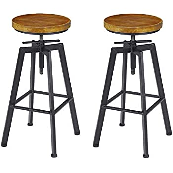 Tremendous Vilavita 2 Set Bar Stools 24 8 Inch To 30 8 Inch Adjustable Height Swivel Counter Height Bar Chair Retro Finish Industrial Style Wood Barstools Spiritservingveterans Wood Chair Design Ideas Spiritservingveteransorg