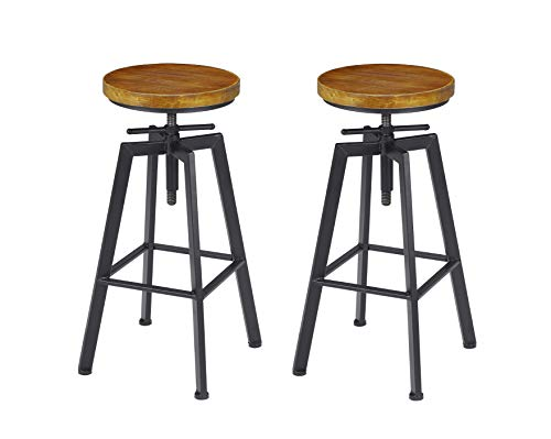 VILAVITA 2-Set Bar Stools, 24.8 Inch to 30.8 Inch Adjustable Height Swivel Counter Height Bar Chair, Retro Finish Industrial Style Wood Barstools (Round Barstools)