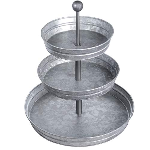 DELBRIO - 3 Tier Serving Tray (Jumbo 17'' Base) Rustic, Decorative Galvanized Metal | Home Farmhouse Decor & Display Stand | Coffee, Fruit & Veggie, Party Bar Serving Tray, Cupcake Stand | FOOD SAFE by DELBRIO (Image #8)