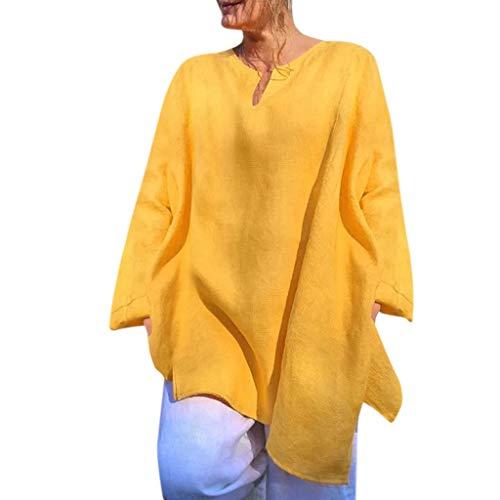 Alangbudu Women Loose Soft Cotton Linen V Neck Long Sleeve Casual Shirt Tank Top Tunic Swing Dress Yellow -