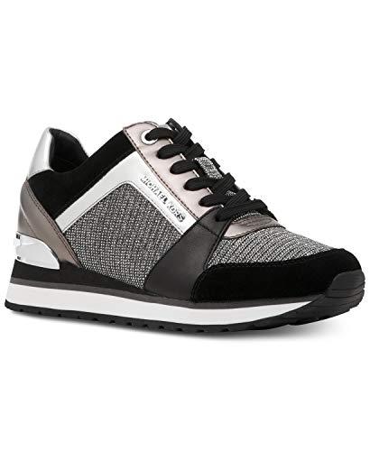 Michael Kors MK Women's Billie Trainer Chain Mesh Sneakers Shoes Black/Silver (5.5 M US)