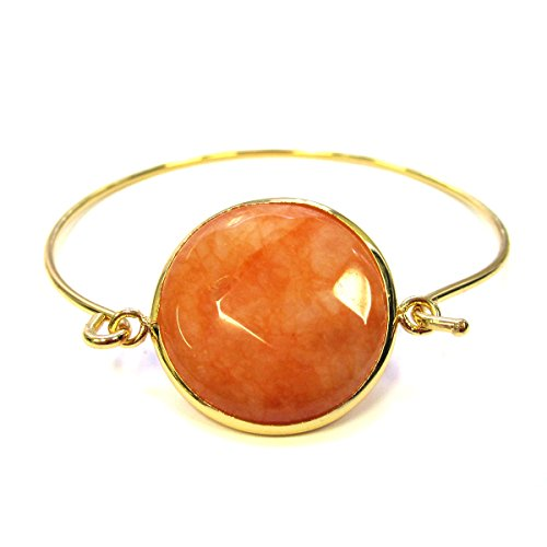 Orange jade embeded pendant bangle bracelet 18k yellow gold plated
