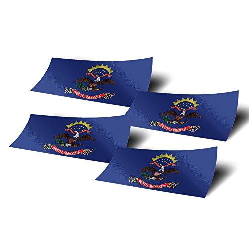 North Dakota ND 4 Pack of 4 Inch Wide State Flag Stickers Decal for Window Laptop Computer Vinyl Car Bumper Scrapbook North Dakotan 4