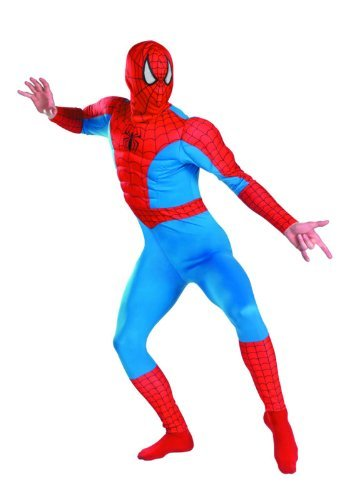 Disguise Men's Marvel Spider-Man Classic Muscle Costume, Blue/Red, (Spiderman Halloween Costumes For Adults)