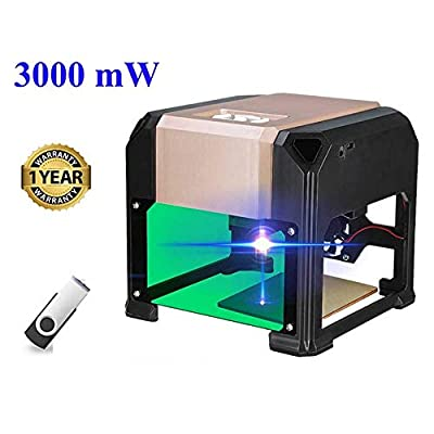 Bluetooth Laser Engraving Machine, 3000mW Mini Desktop Laser Engraver Printer with Carver Size 80 x 80mm, High Speed Laser Engraving Cutter ...