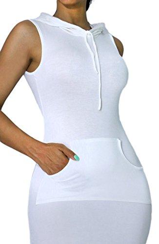 Womens Sexy Casual Soft Hooded Sleeveless Maxi Dress Slit Pocket Drawstring (SMALL, WHITE-D4778)