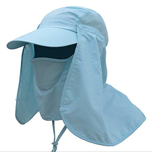 [Ezyoutdoor Outdoor Jungle Fishing 360 Degree UV Protection Sun Block Hat Folding Visor Nylon Cap Mesh Bucket Flap Hats] (Pork Pie Hat For Sale)