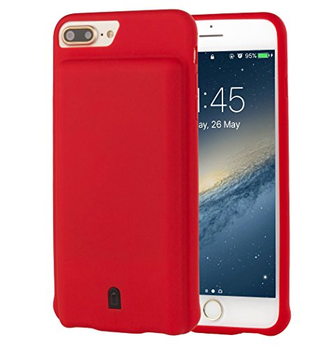 i.VALUX iPhone 6 Plus / 6s Plus / 7 Plus (not for iPhone 6 / 6s / 7) Battery Case Charger 7000mAh External Battery Backup Protective Charger Case (Red)