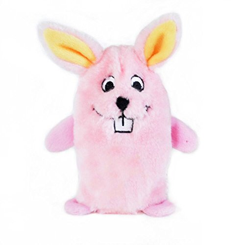 ZippyPaws - Squeakie Buddie No Stuffing Plush Dog Toy - Bunny, Pink