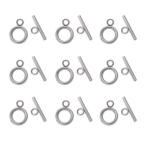 Kissitty 20 Sets 304 Stainless Steel Round IQ Toggle Clasps & Tbar Clasps for Necklace Bracelet Jewelry Making Silver Tone (Round Silver Toggle)