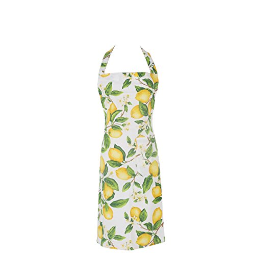 Xiabing Women's Cotton Polka Halter Apron with Pockets, Adjustable Waist Ties for Kitchen Cooking, Baking and Gardening, 32 x 24 in(Lemon) ()